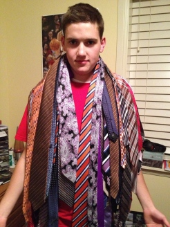 Picking out 15 ties.