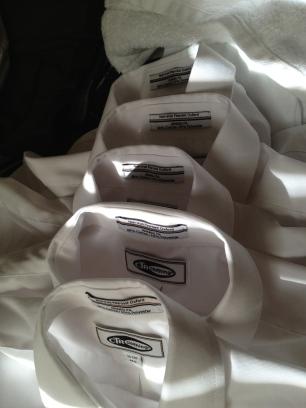 10 white shirts.