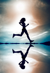 silhouette-and-reflection-of-woman-running